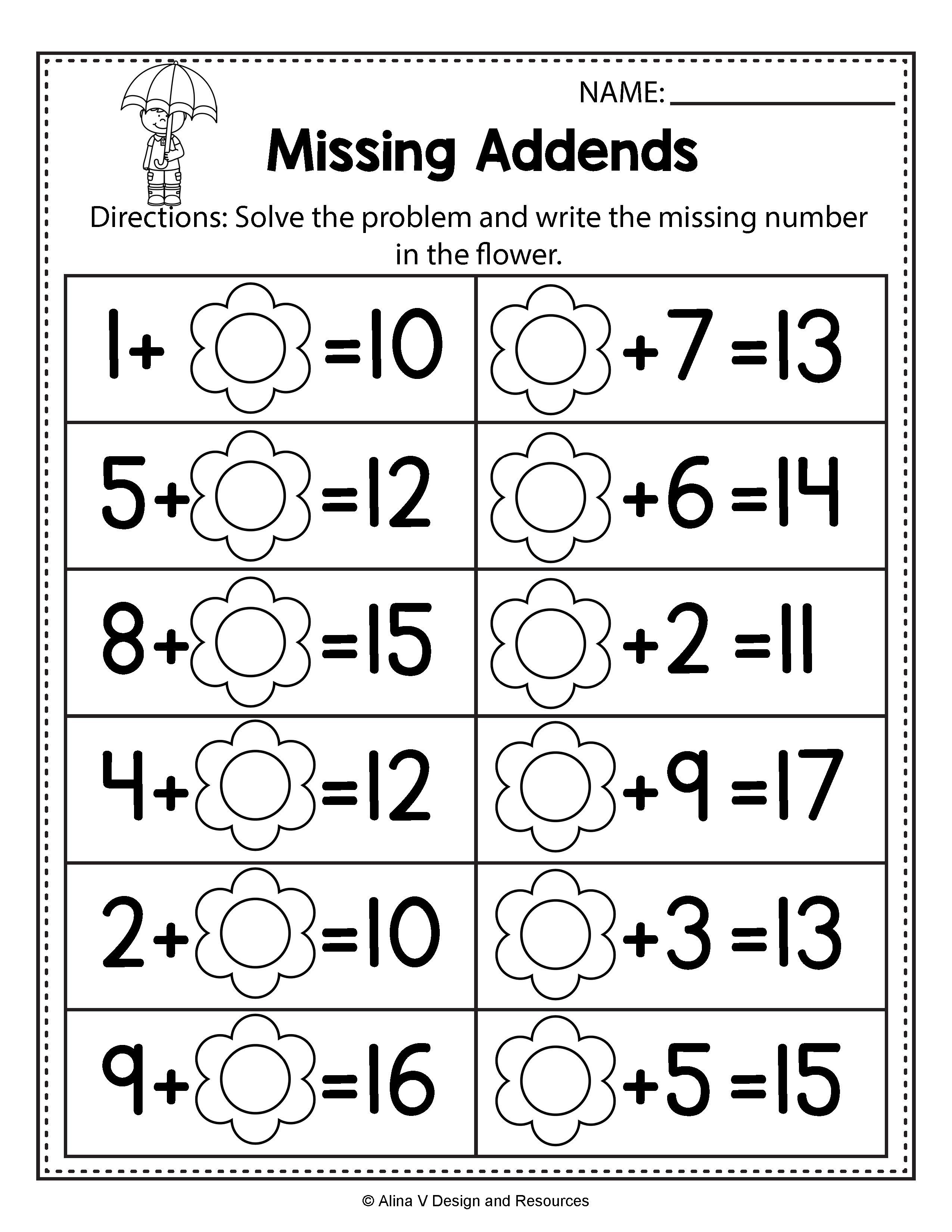 First Grade Missing Addend Worksheets Refrence Unique Free