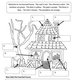 A Haunted House   Undervisning   Halloween Worksheets [ 1079 x 763 Pixel ]