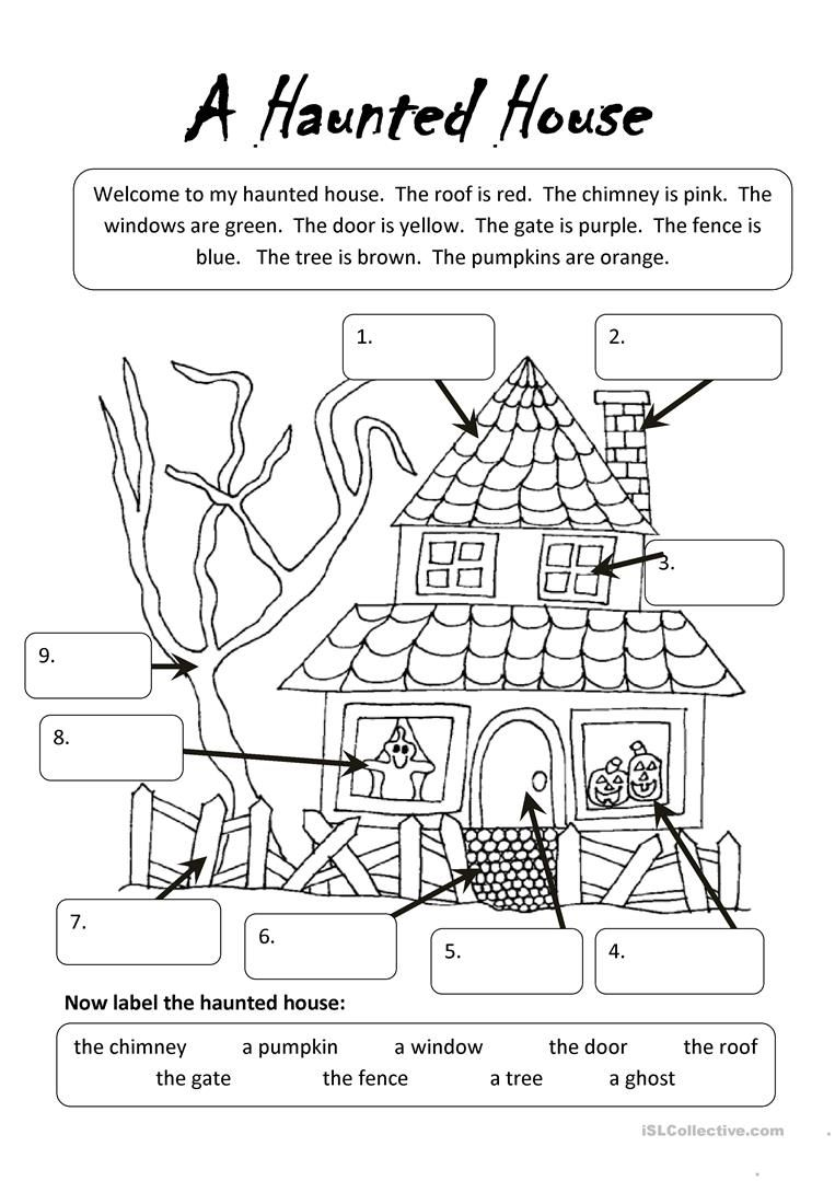 hight resolution of A Haunted House   Undervisning   Halloween Worksheets
