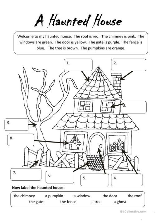 small resolution of A Haunted House   Undervisning   Halloween Worksheets