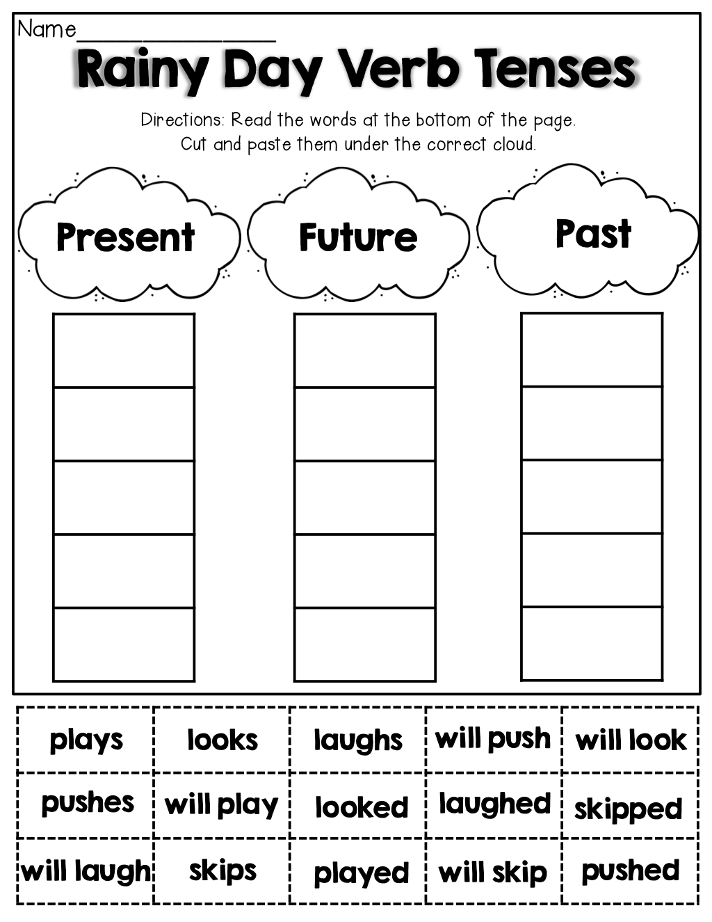 hight resolution of Verb Tenses (cut And Paste)   English Worksheets   2nd Grade Grammar on  Best Worksheets Collection 4833