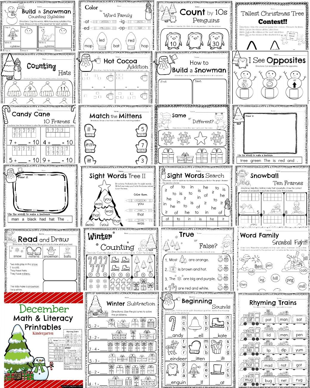 Kindergarten Math And Literacy Worksheets For December On