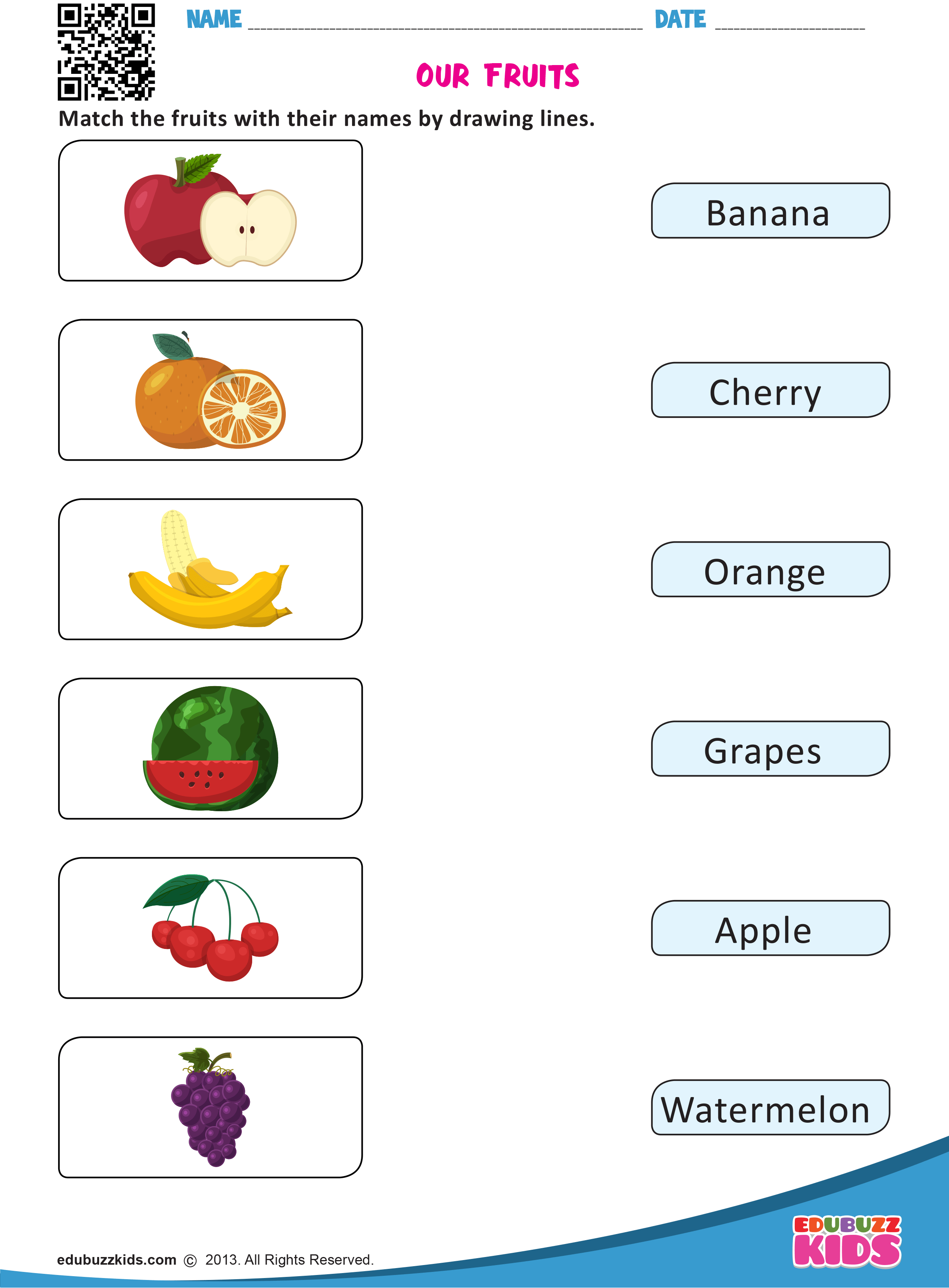 Kindergarten Fruits And Vegetables Worksheets With