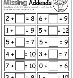 Missing Addends!   Grade One   Math Worksheets [ 1325 x 1024 Pixel ]