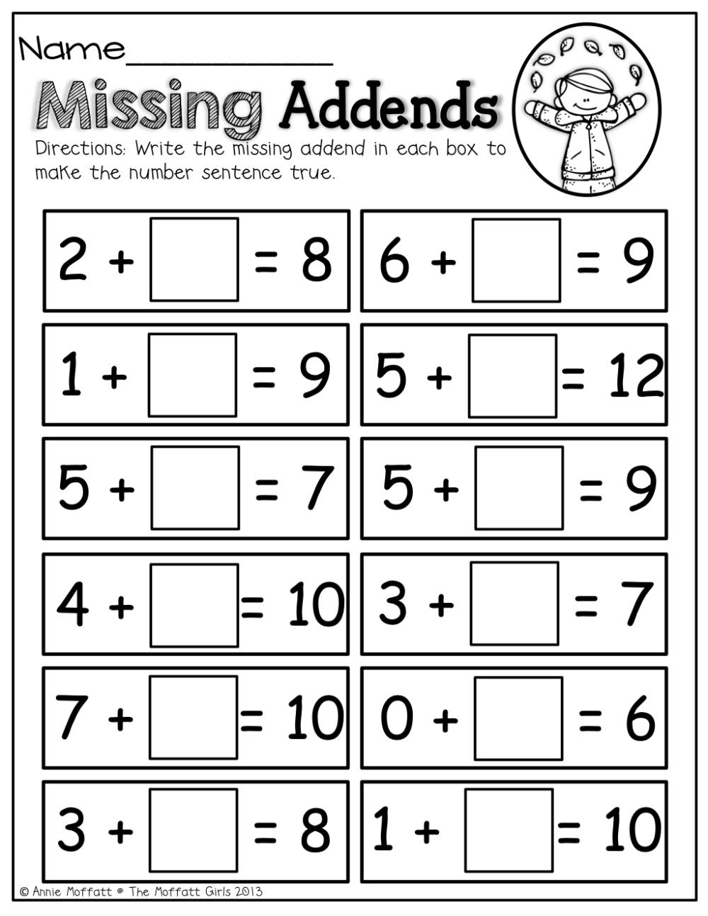 medium resolution of Missing Addends!   Grade One   Math Worksheets