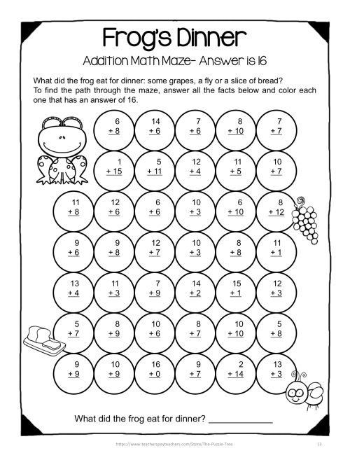 small resolution of Addition Math Mazes: Addition Worksheets For Addition Facts To 20 on Best  Worksheets Collection 9316