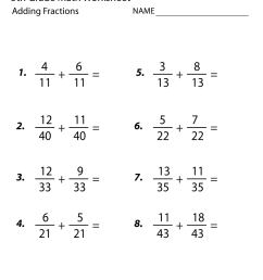20 Best Addition And Subtraction Fraction Worksheets images on Best  Worksheets Collection [ 1035 x 800 Pixel ]