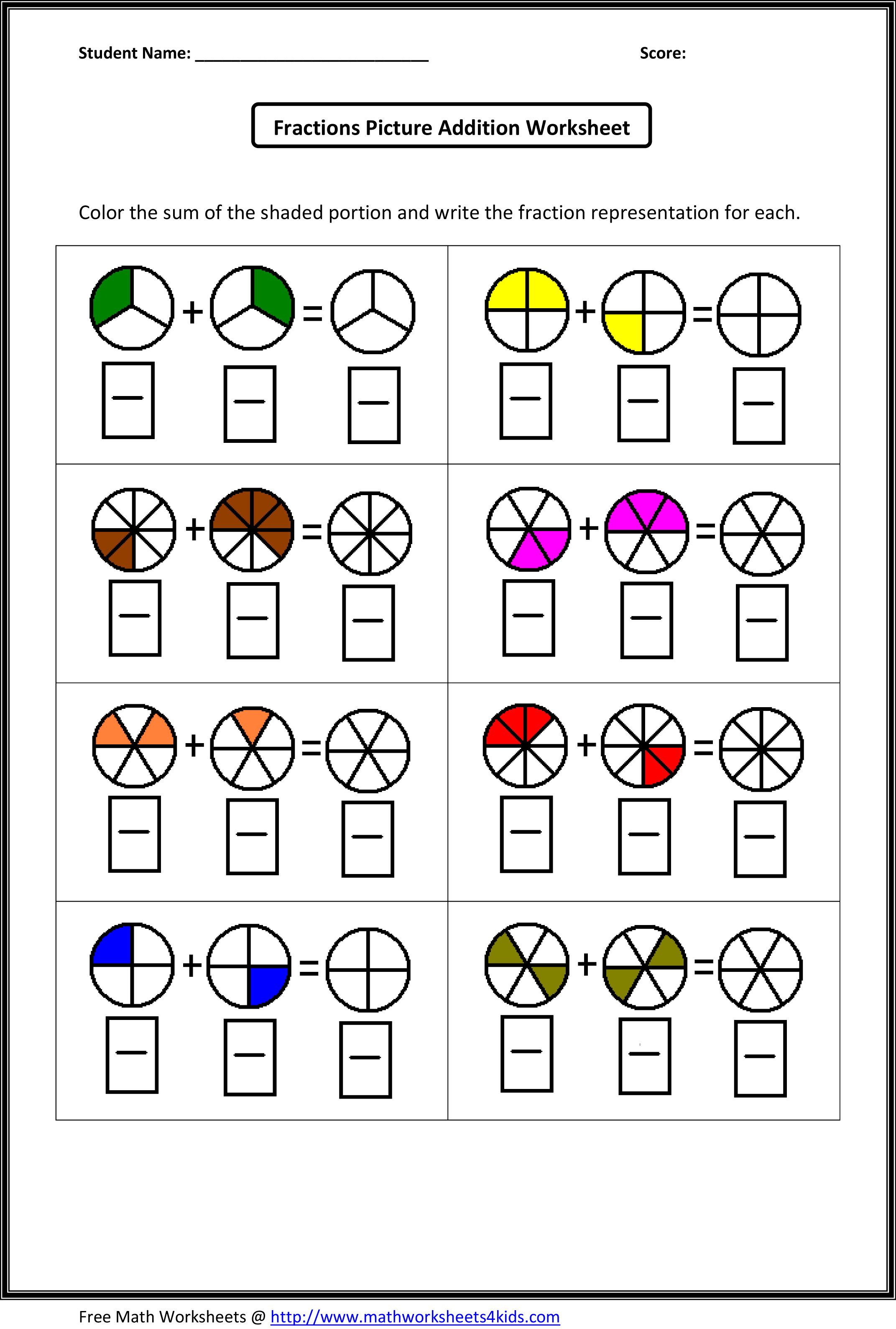 14 Best Fraction Coloring Worksheets 4th Grade Images On