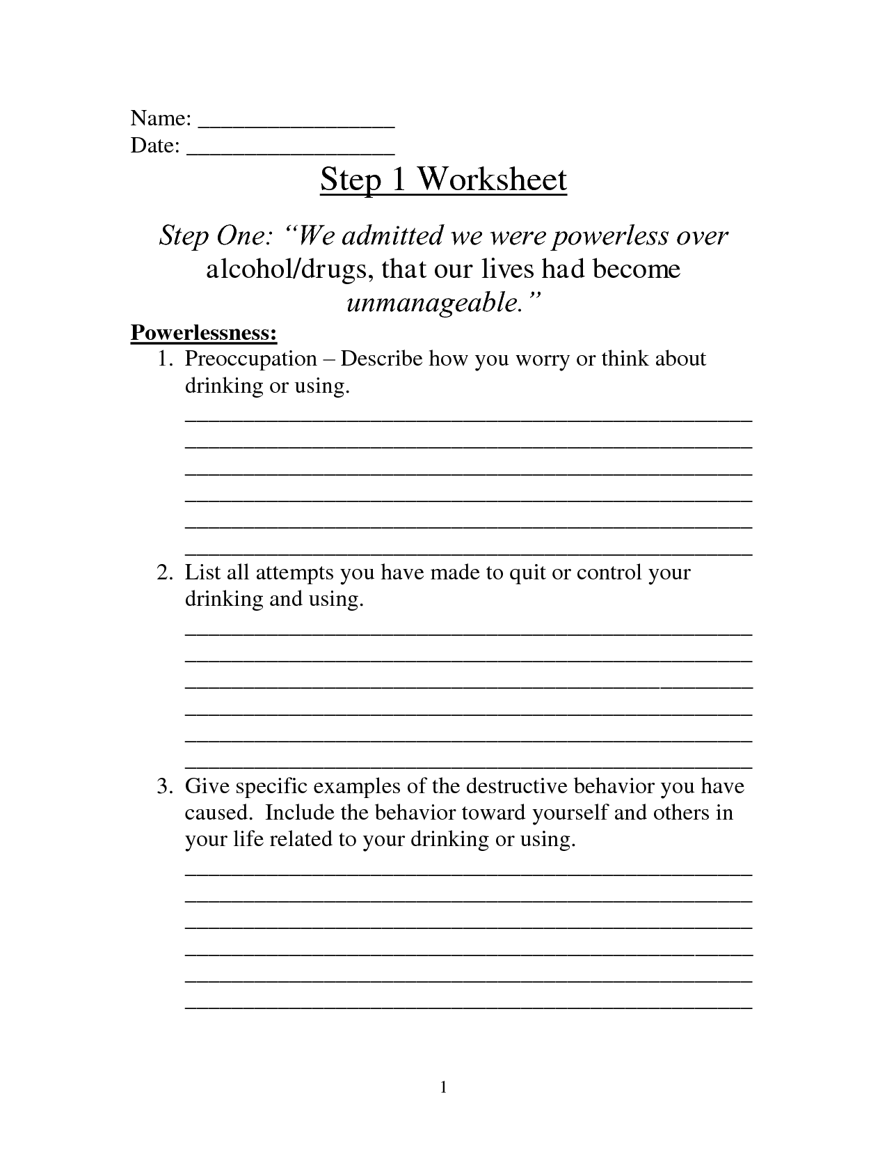 Image Result For 12 Steps Of Aa Worksheets