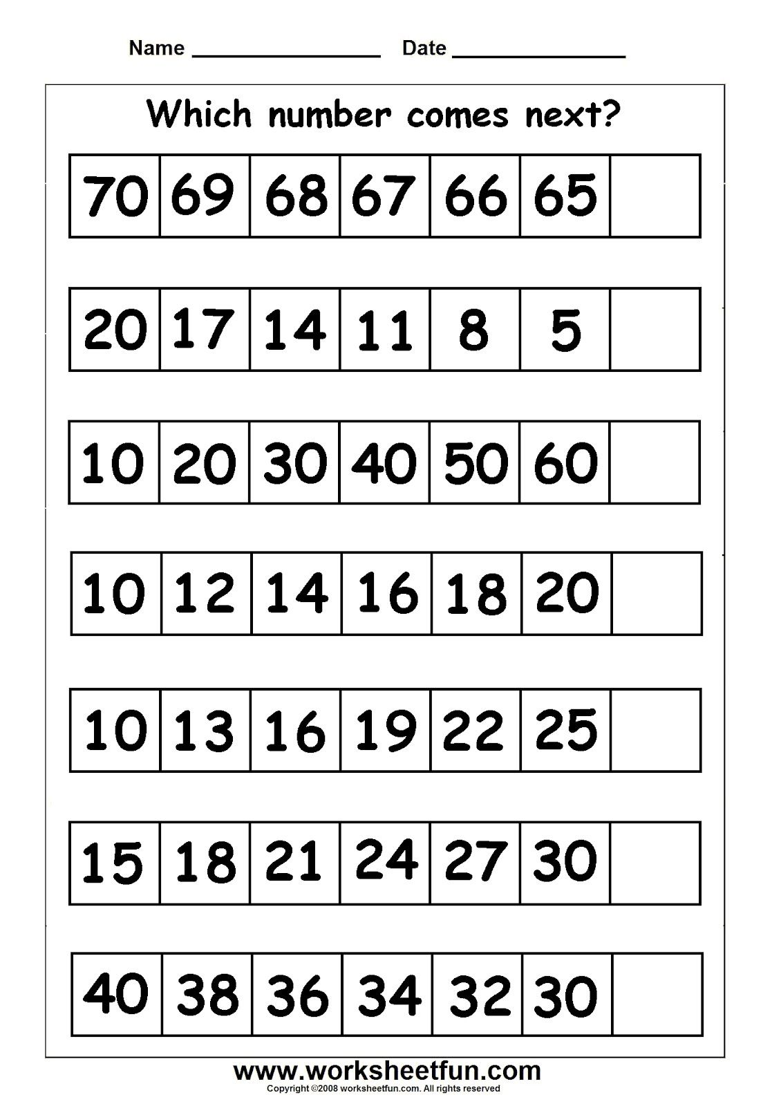 Free Preschool Printable Counting Trains Worksheets