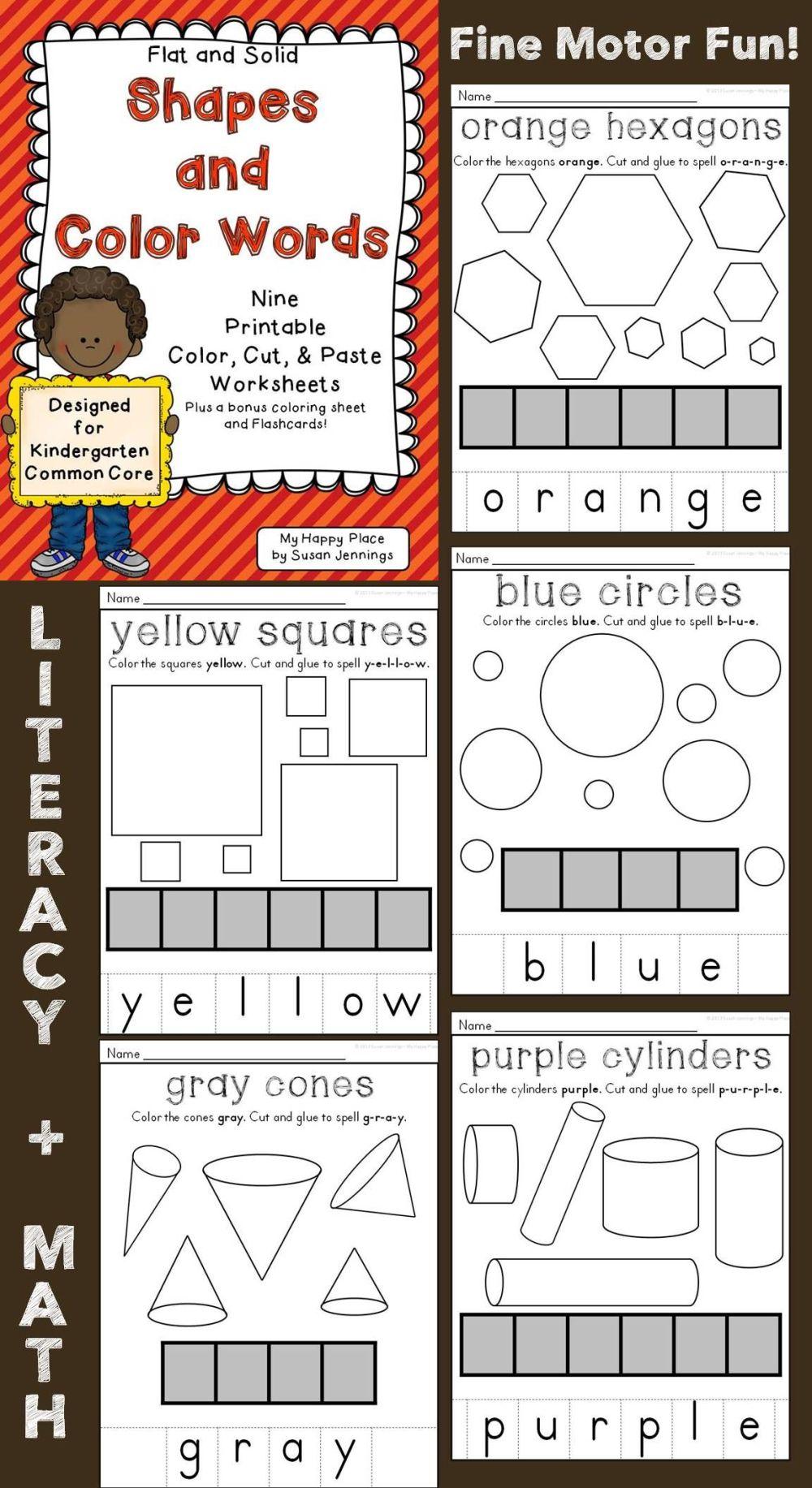 medium resolution of Flat And Solid Shapes \u0026 Color Words Cut \u0026 Paste Worksheets on Best  Worksheets Collection 2082