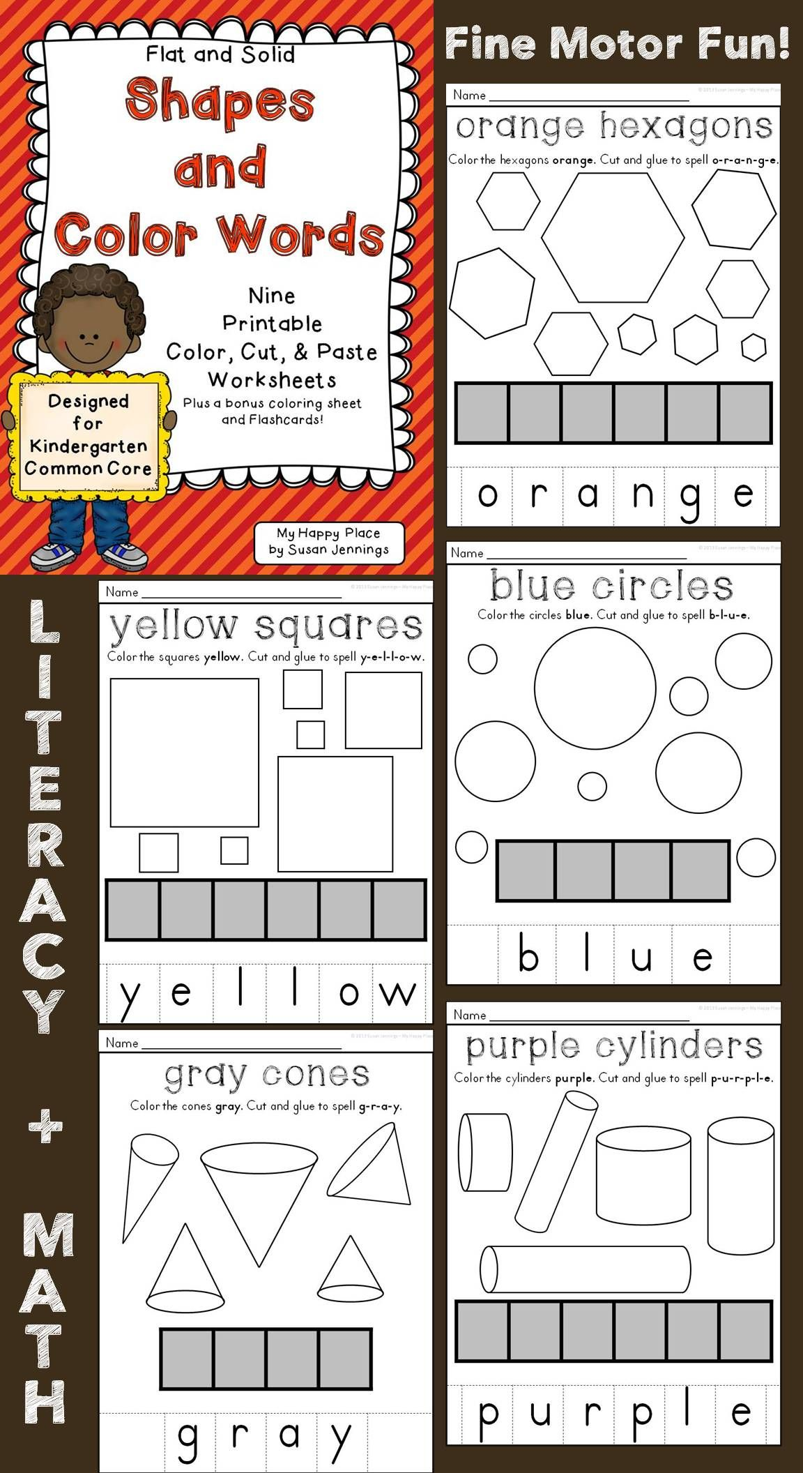 hight resolution of Flat And Solid Shapes \u0026 Color Words Cut \u0026 Paste Worksheets on Best  Worksheets Collection 2082