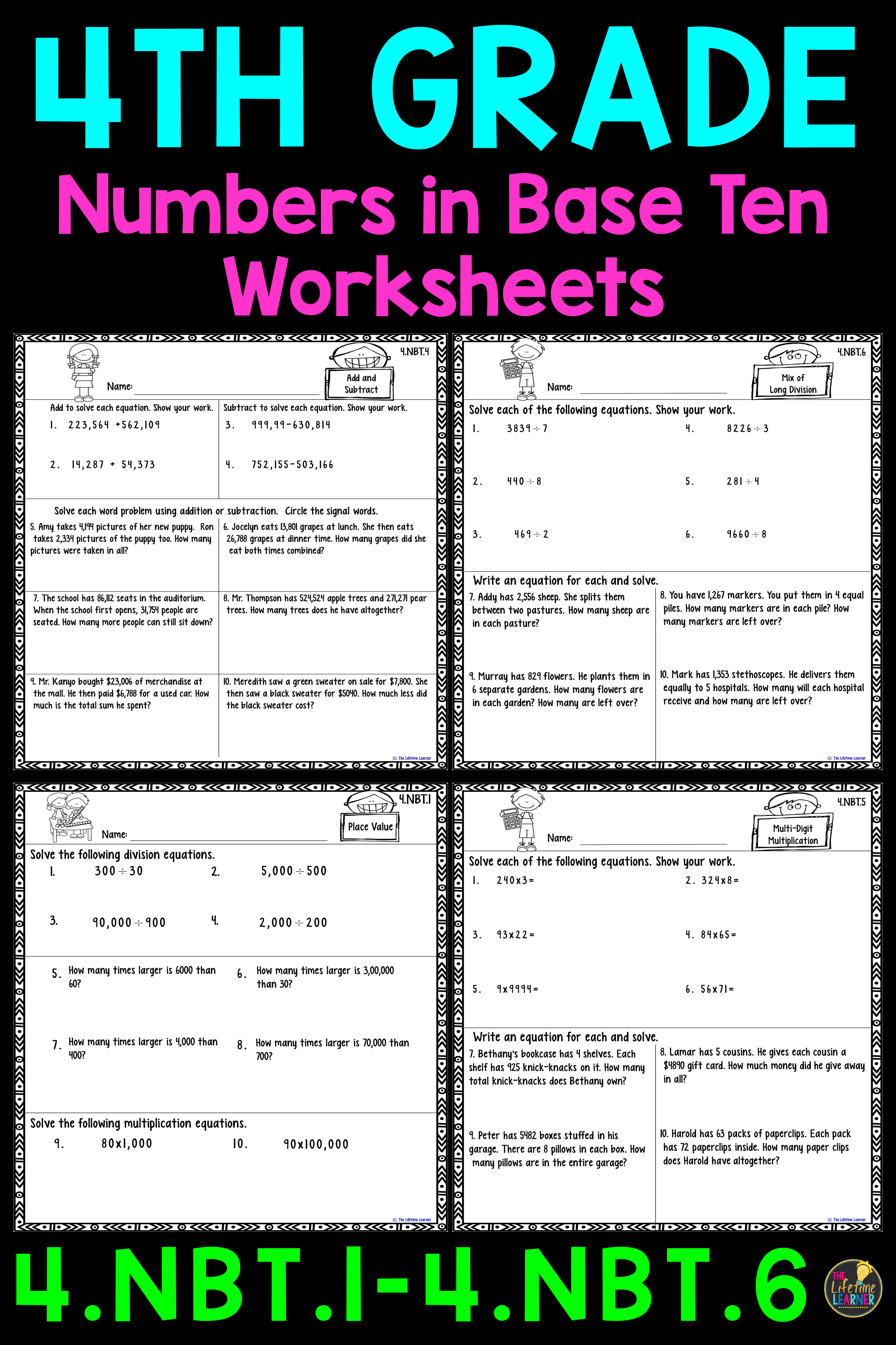 4th Grade Numbers In Base Ten Worksheets