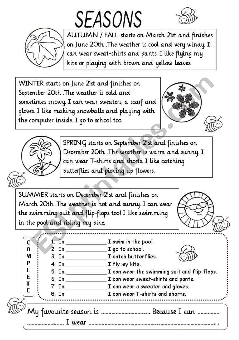 medium resolution of Seasons Worksheet   2nd Grade   Seasons Worksheets