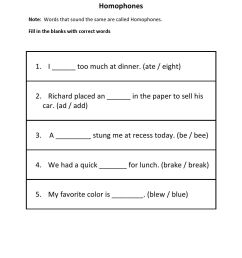 Homophones Worksheets For Grade 5   Worksheets on Best Worksheets  Collection 6984 [ 1320 x 1020 Pixel ]