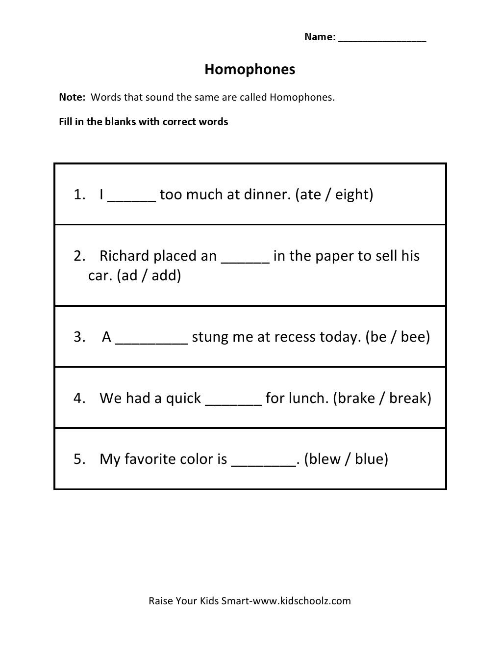 hight resolution of Homophones Worksheets For Grade 5   Worksheets on Best Worksheets  Collection 6984
