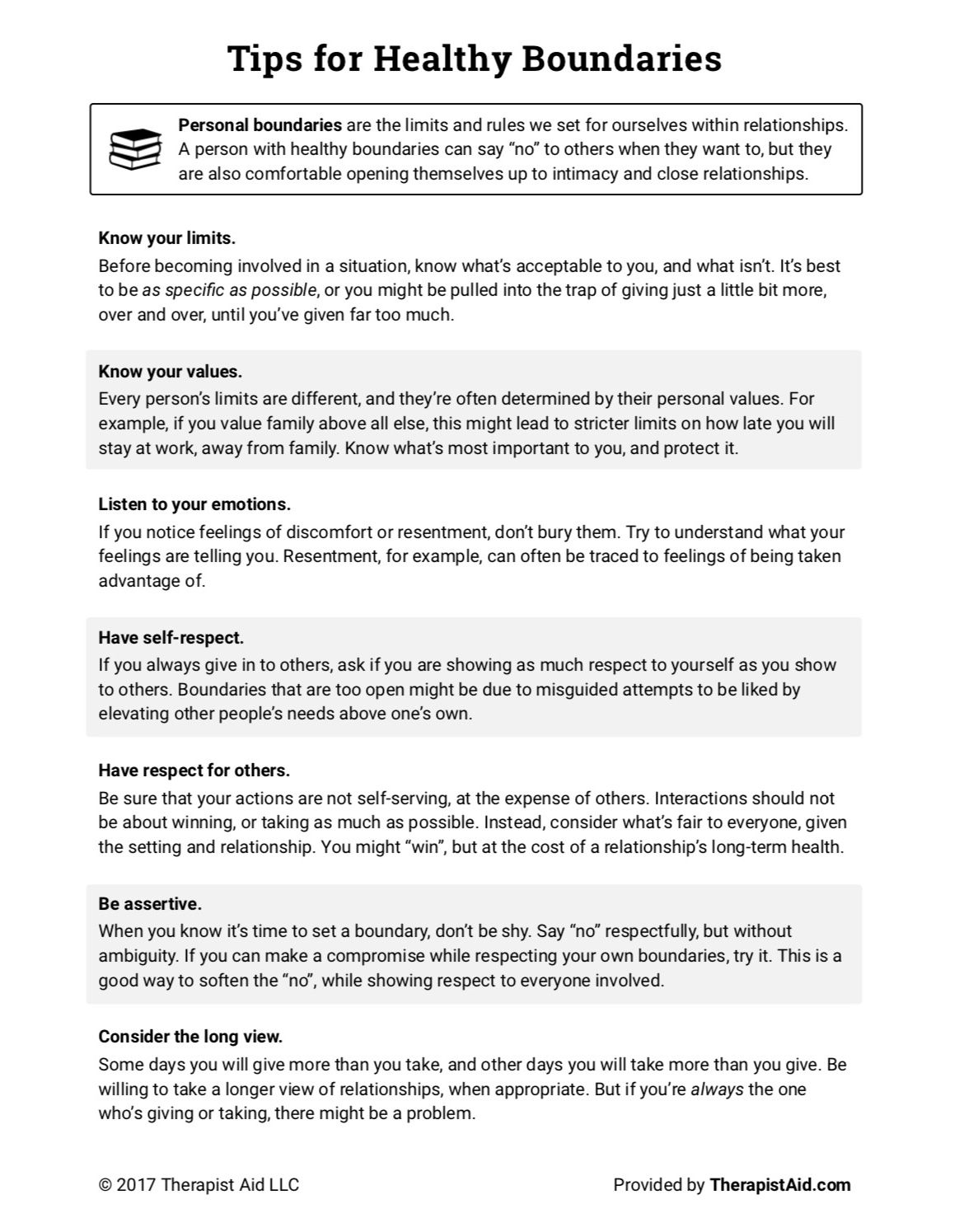 Healthy Boundaries Tips Worksheet