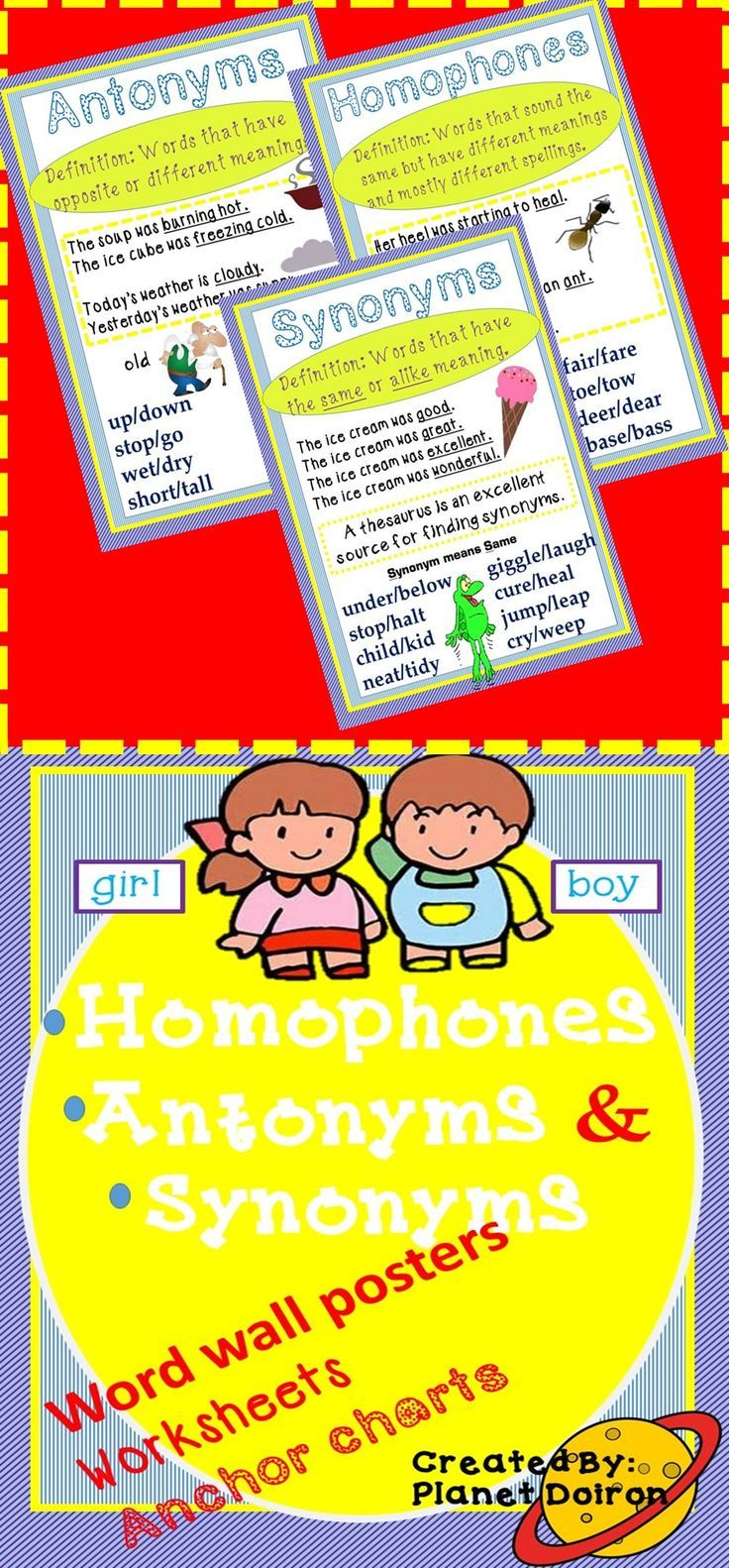 hight resolution of Homophones Synonyms Antonyms Grammar Worksheets And Anchor Charts on Best  Worksheets Collection 9060