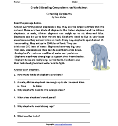 Great Big Elephants Third Grade Reading Worksheets   Reading on Best  Worksheets Collection 2268 [ 2200 x 1700 Pixel ]