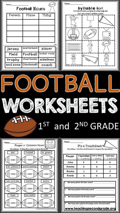 small resolution of Football Worksheets   ***first And Second Grade Resources   Literacy on  Best Worksheets Collection 7179