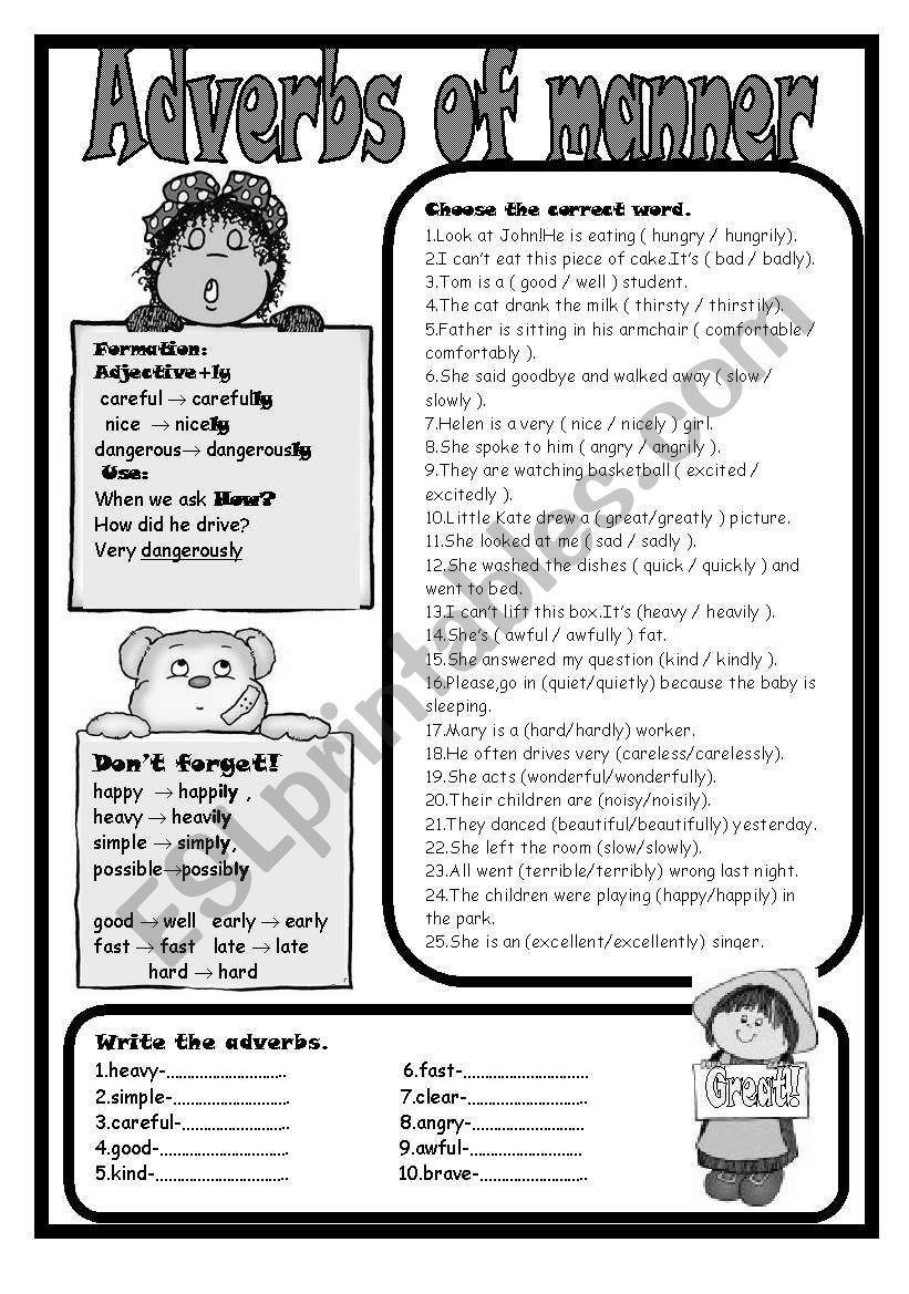 medium resolution of Adverbs Of Manner Worksheet   Adj - Adv - Ex   Adverbs