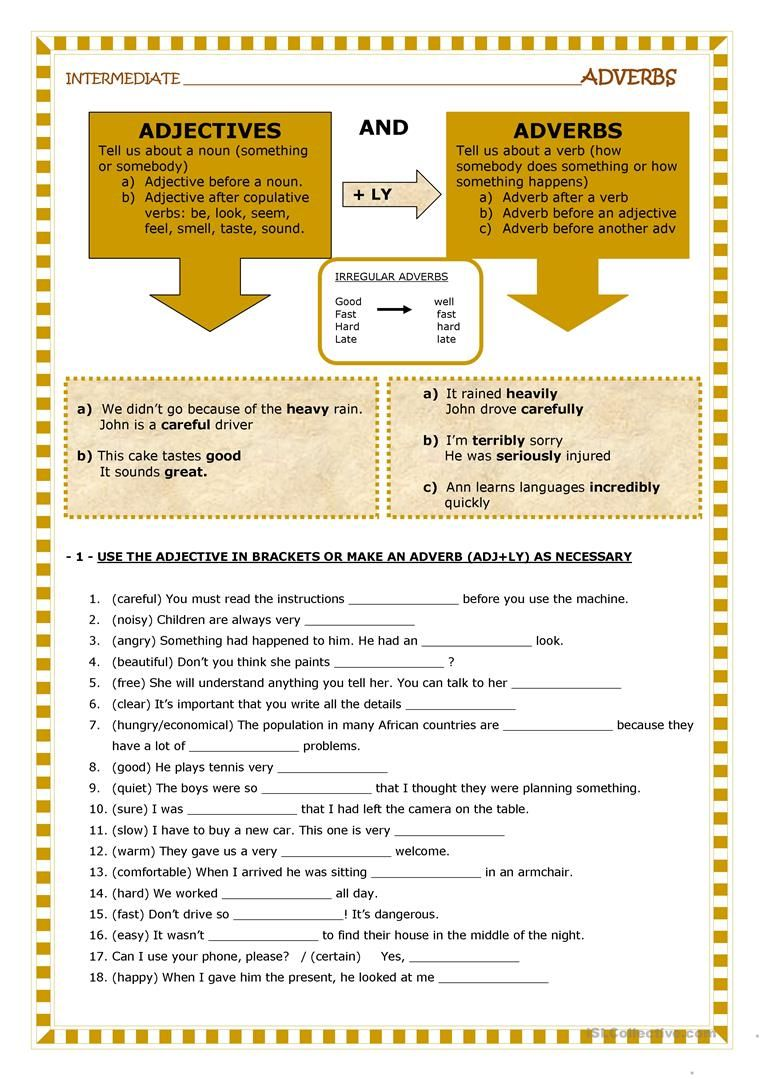 hight resolution of Adjectives And Adverbs Worksheet - Free Esl Printable Worksheets on Best  Worksheets Collection 868