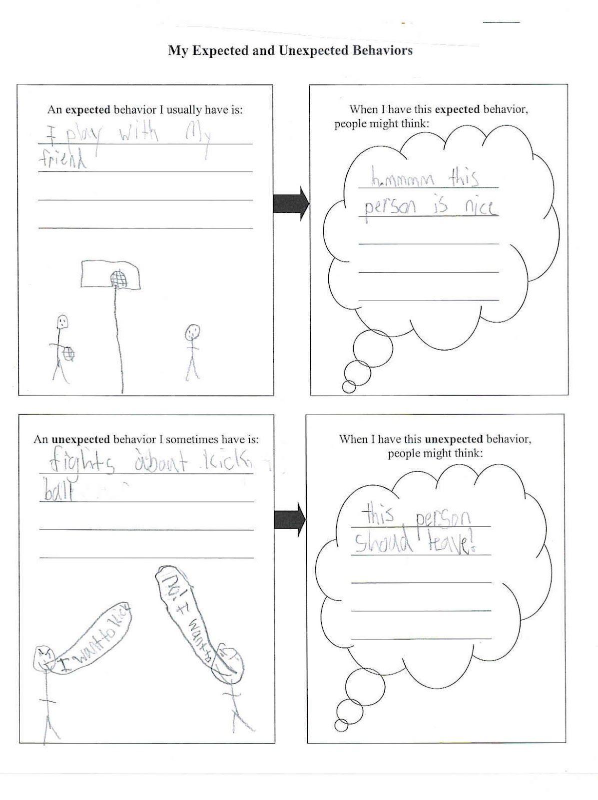 Expected Unexpected Behavior Worksheet Kids