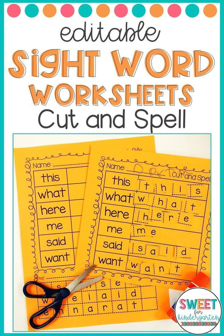 hight resolution of Editable Sight Word Worksheets- Cut And Spell   Morning Work Ideas on Best  Worksheets Collection 5982
