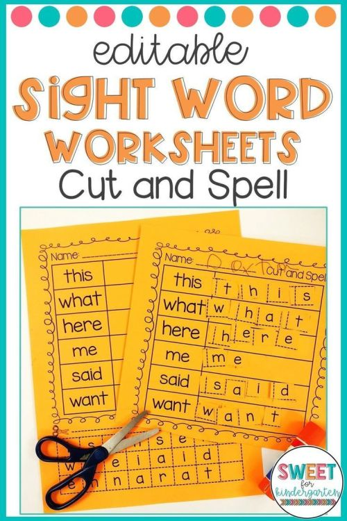 small resolution of Editable Sight Word Worksheets- Cut And Spell   Morning Work Ideas on Best  Worksheets Collection 5982