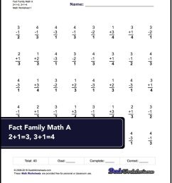 Fact Family Worksheets! One Minute Addition/subtraction   Math on Best  Worksheets Collection 6089 [ 1920 x 1620 Pixel ]