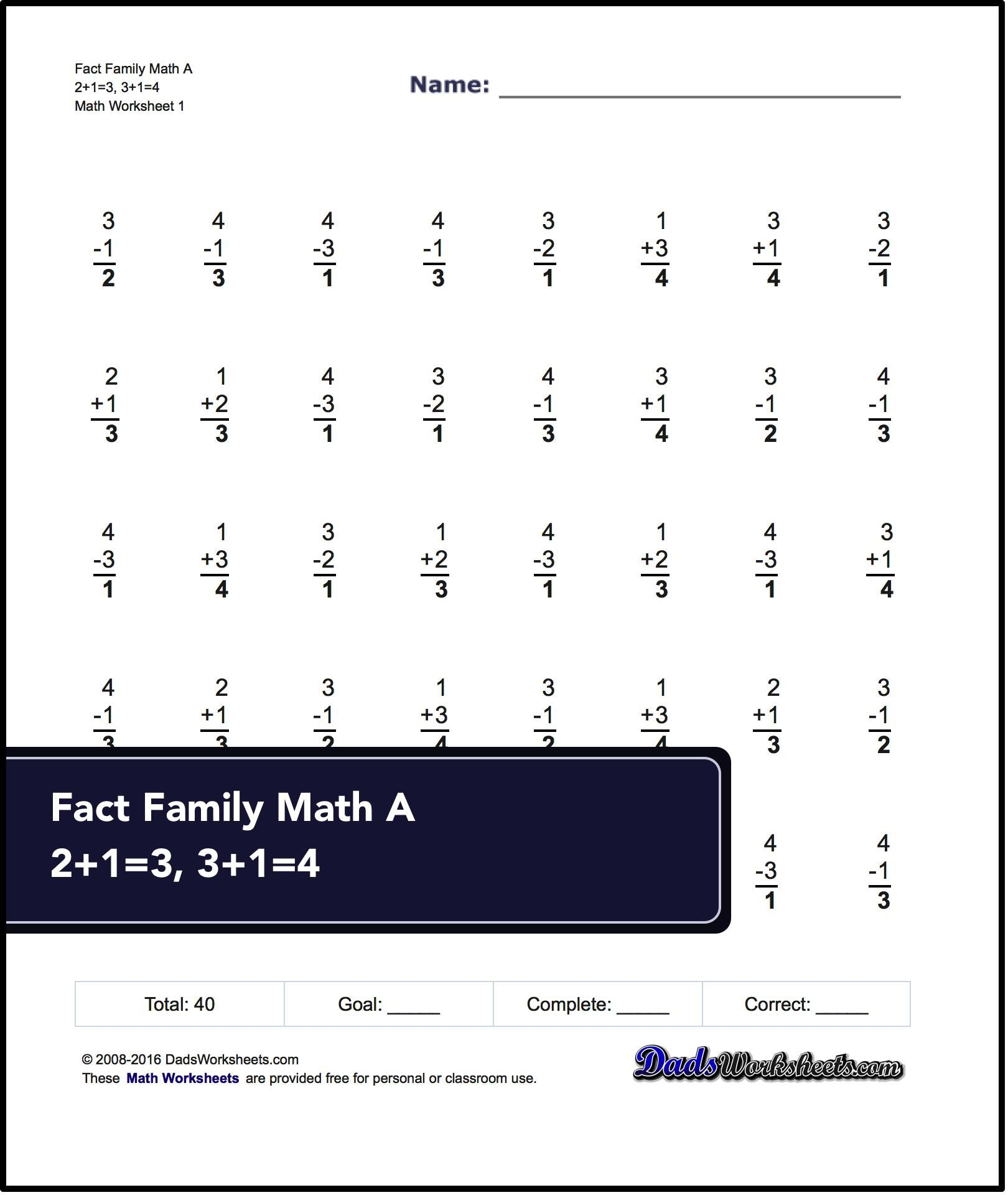hight resolution of Fact Family Worksheets! One Minute Addition/subtraction   Math on Best  Worksheets Collection 6089