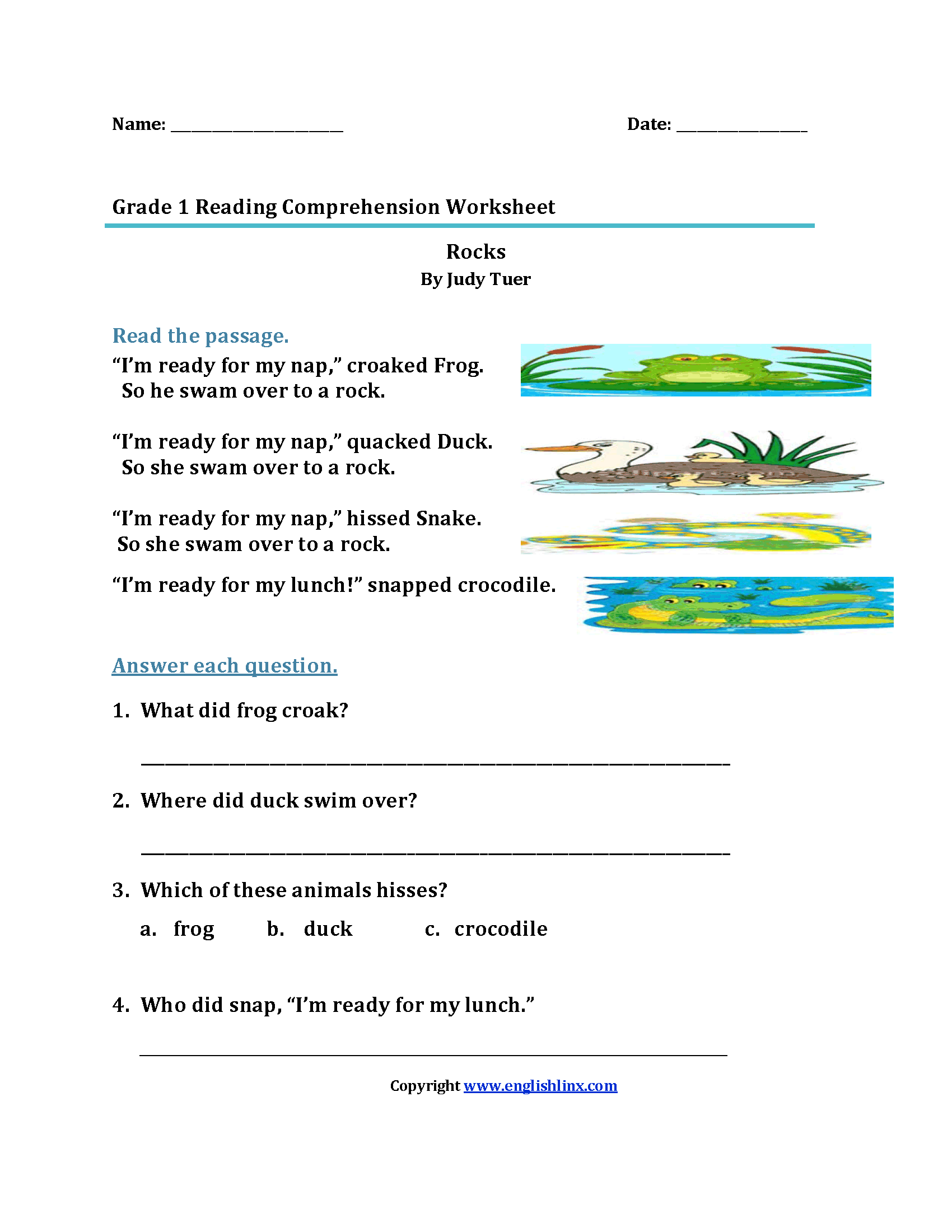 15 Best 4th Grade Reading Worksheets With Questions Images