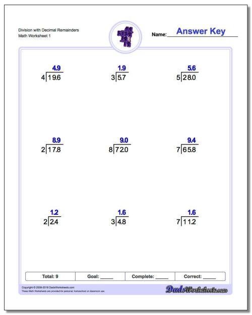 small resolution of 9 Best Long Division With Decimals Worksheets images on Best Worksheets  Collection