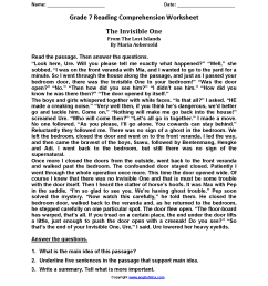 Invisible One\u003cbr\u003eseventh Grade Reading Worksheets   Read   Reading on Best  Worksheets Collection 1816 [ 2200 x 1700 Pixel ]