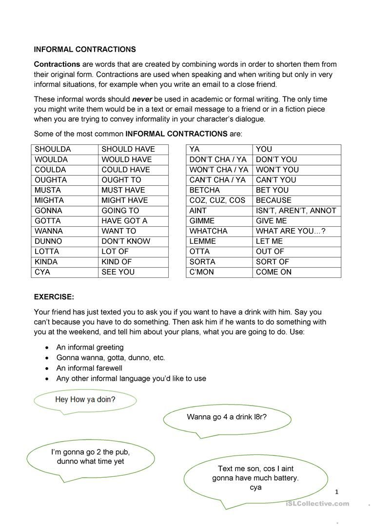 medium resolution of Informal Contractions Worksheet - Free Esl Printable Worksheets Made on  Best Worksheets Collection 6523