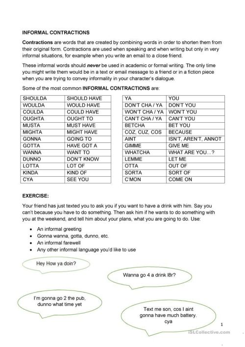 small resolution of Informal Contractions Worksheet - Free Esl Printable Worksheets Made on  Best Worksheets Collection 6523