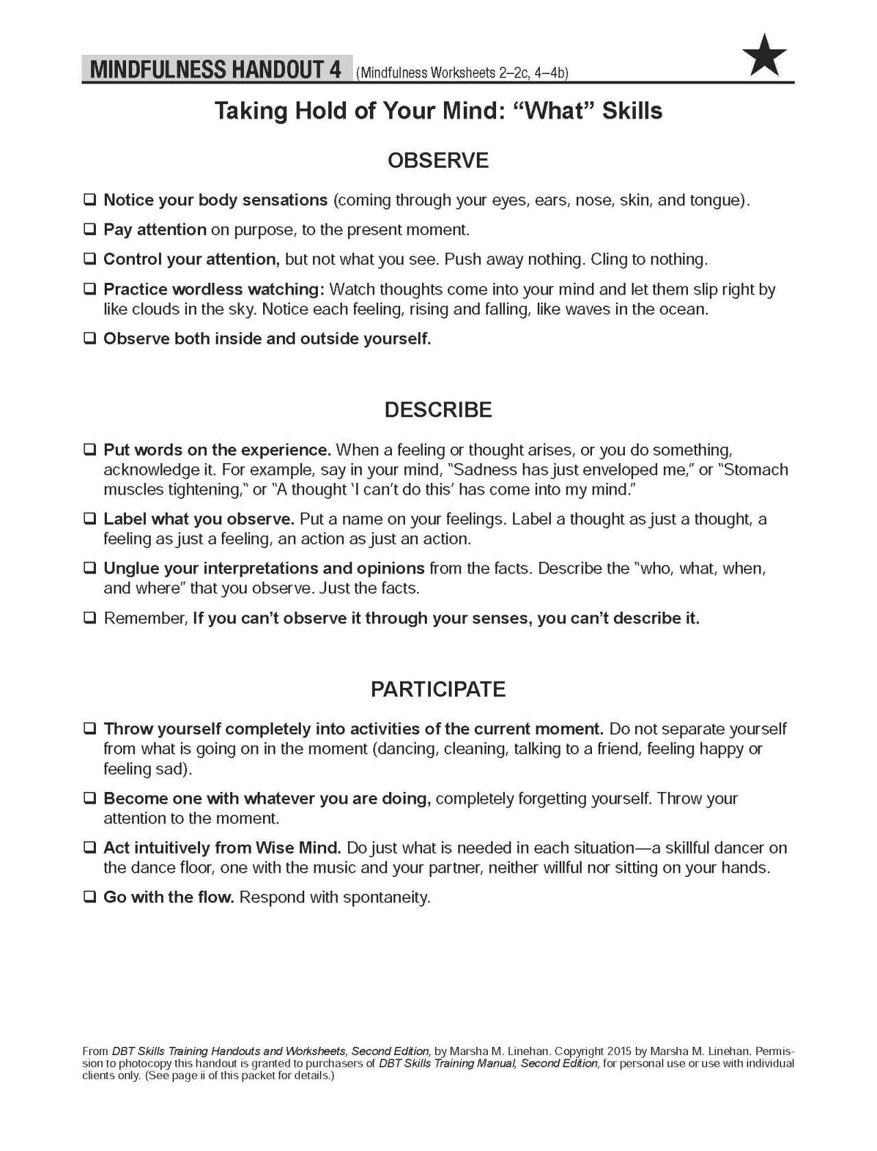 4 Best Dbt Mindfulness Worksheets Images On Best