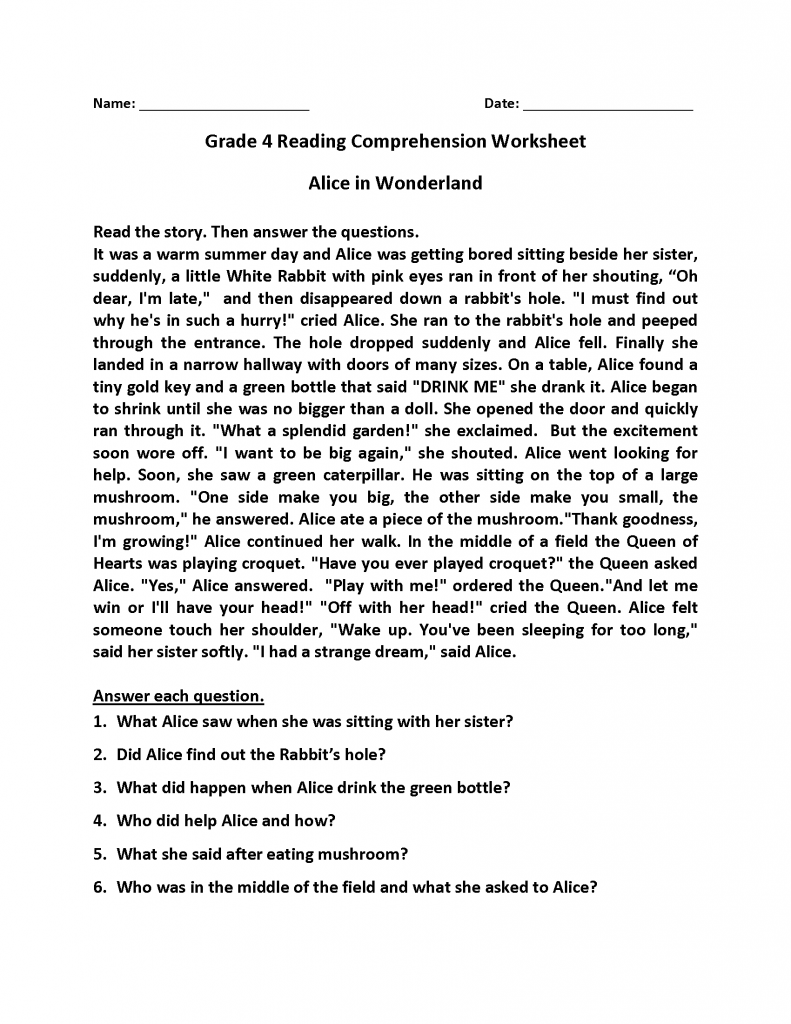 medium resolution of 4th Grade Reading Comprehension Worksheets   Phonics Activities on Best  Worksheets Collection 1079