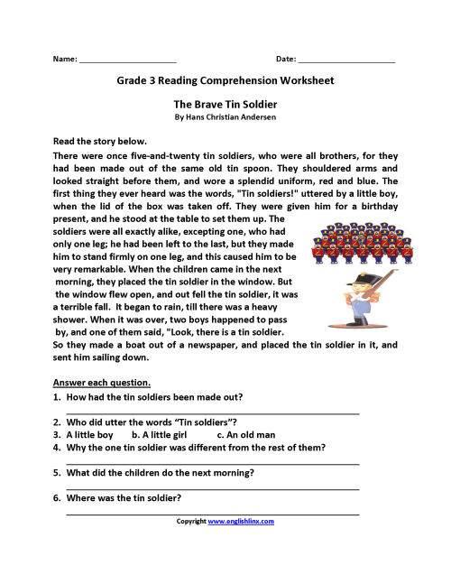 small resolution of Brave Tin Soldier Third Grade Reading Worksheets   Desktop on Best  Worksheets Collection 7767