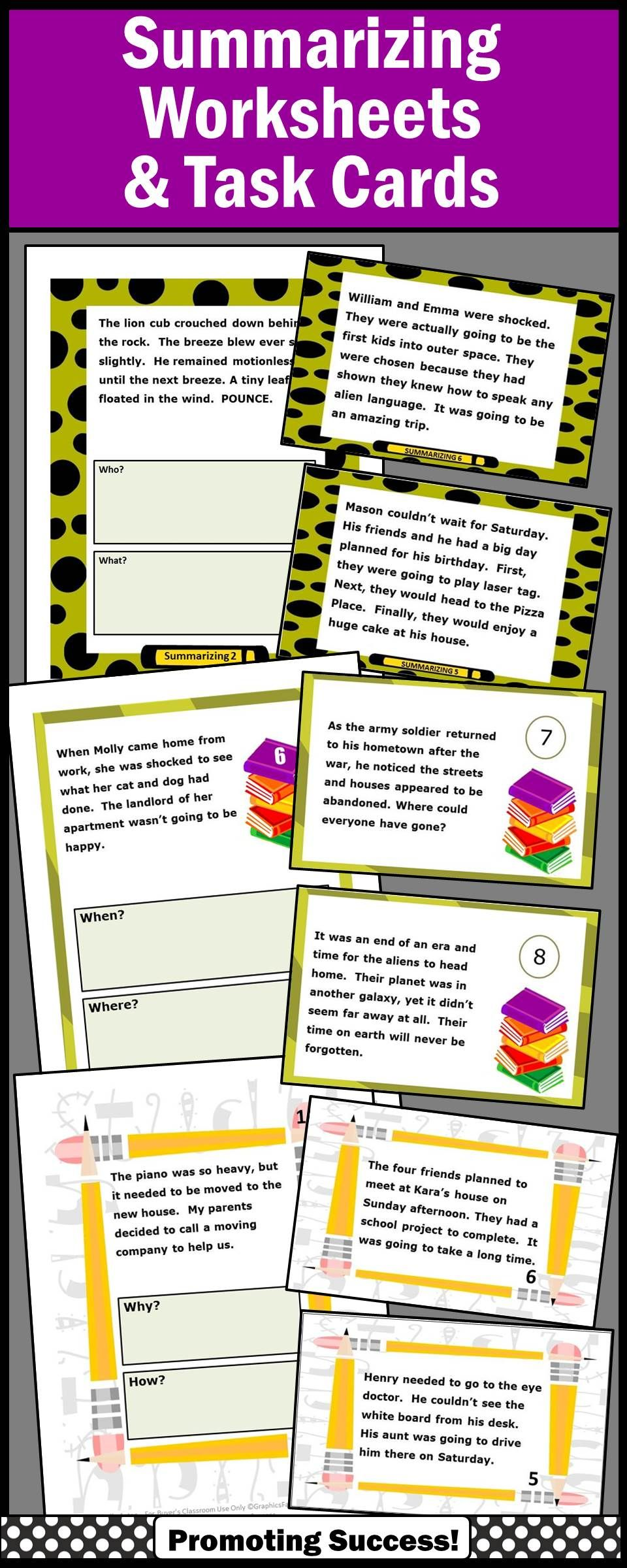 hight resolution of Summarizing Activities For 4th Grade Bundle Wh Questions Worksheets on Best  Worksheets Collection 8605
