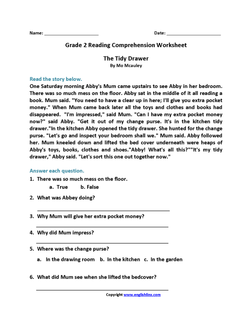 small resolution of 9 Best Grade 2 Worksheets With Questions For Comprehension images on Best  Worksheets Collection
