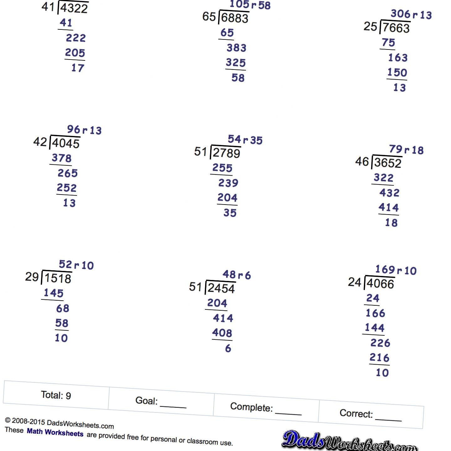 14 Best 5th Grade Worksheets Division With Remainders