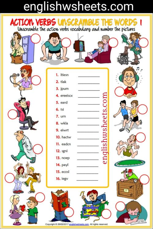 small resolution of 11 Best Action Verbs Worksheets images on Best Worksheets Collection