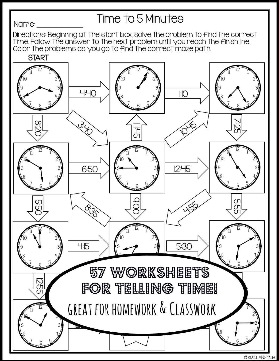 Telling Time Worksheets No Prep