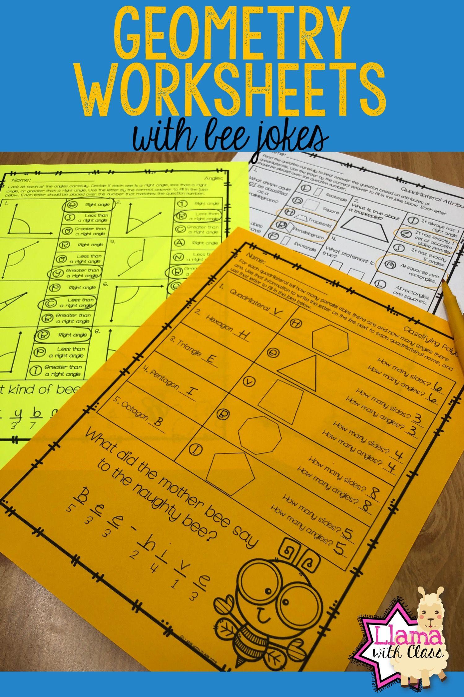 Geometry Worksheets With Bee Jokes