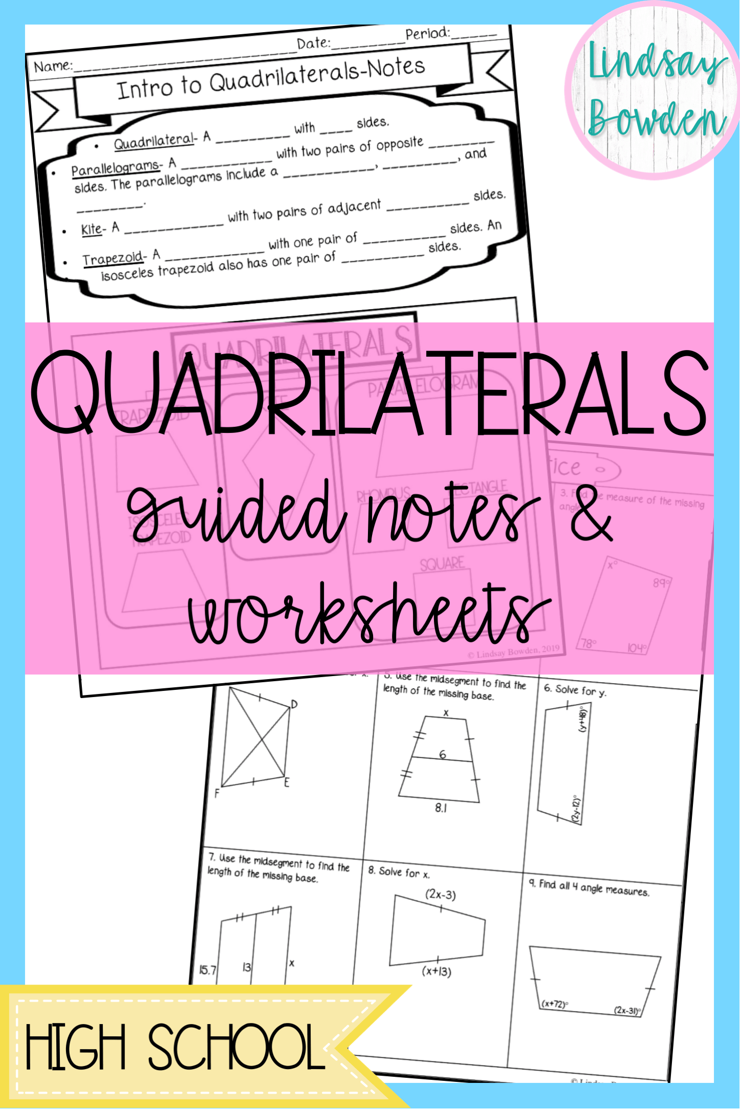 hight resolution of Quadrilaterals Guided Notes And Worksheets   High School on Best Worksheets  Collection 16