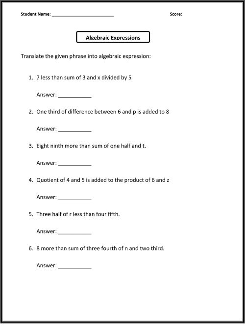 small resolution of 6th Grade Worksheets To Print   Math Worksheets   Algebra on Best Worksheets  Collection 1150