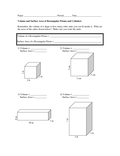 small resolution of Volume And Surface Area Worksheets   The Volume And Surface on Best  Worksheets Collection 7060