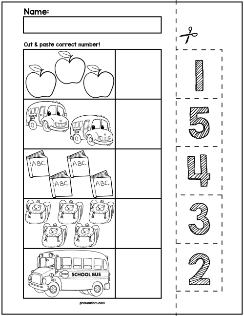 small resolution of Back To School Cut \u0026 Match Worksheets   Numbers 1-5   My Tpt on Best  Worksheets Collection 2854