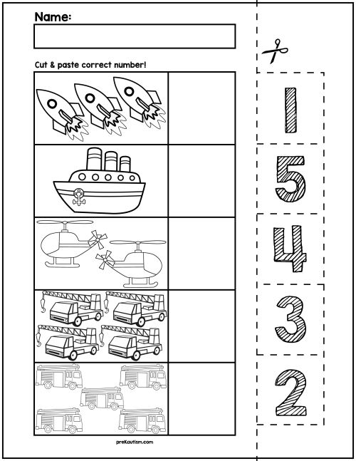 small resolution of Transportation Cut \u0026 Match Worksheets   Numbers 1-5   My Tpt on Best  Worksheets Collection 7815